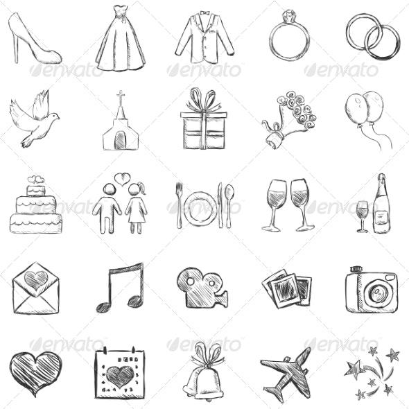 Set of Sketch Weddings Icons - Weddings Seasons/Holidays