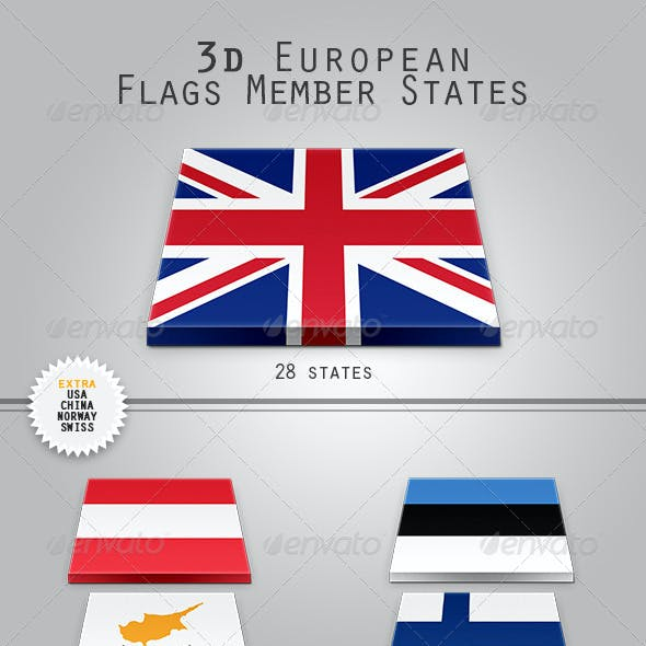 3D European Flags Member States