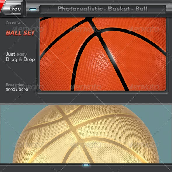 Basketball as 3D Photorealistic Ball Set