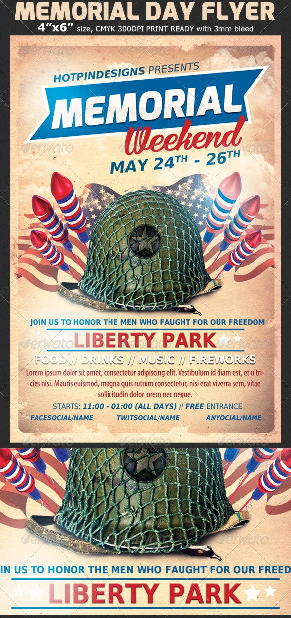 memorial day event flyer template by hotpin graphicriver. Black Bedroom Furniture Sets. Home Design Ideas