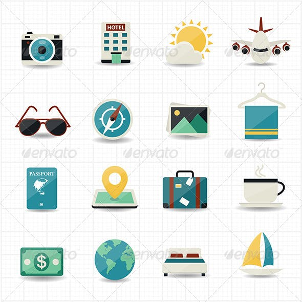 Travel Icons and Hotel Icons with White Background