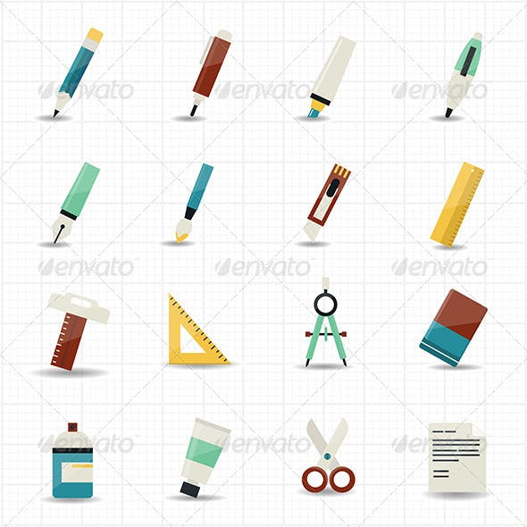 Drawing Painting Tools Icons and Stationery Set