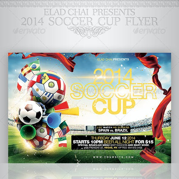 Brazil 2014 Soccer Football Cup Flyer Template
