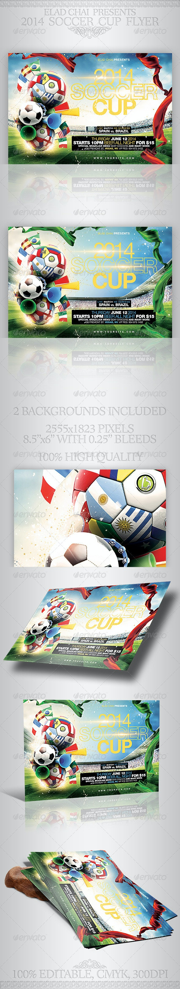 Brazil 2014 Soccer Football Cup Flyer Template - Sports Events