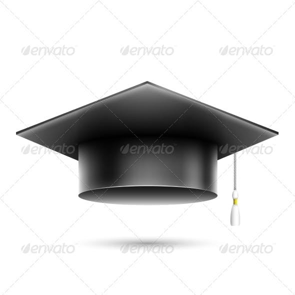 Isolated Realistic Black Student Hat