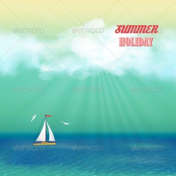 Retro Sea Yacht Summer Travel Poster