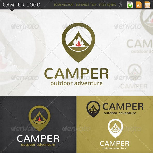 Camper Survival Locator Logo Template