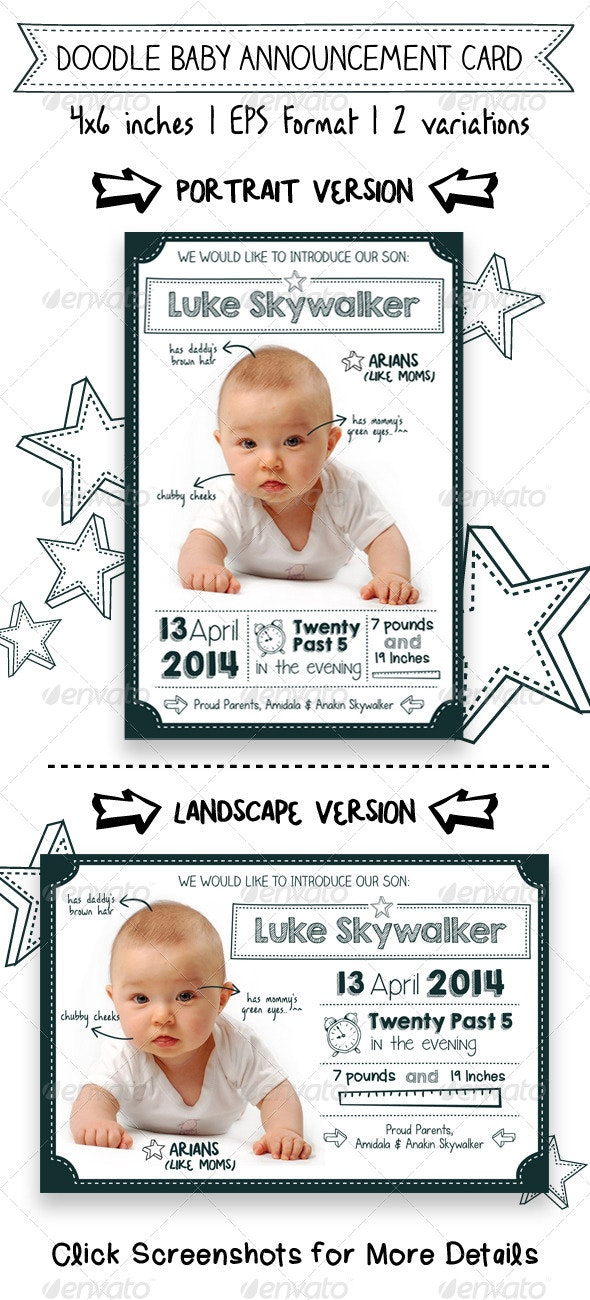 Doodle Baby Announcement Card - Family Cards & Invites