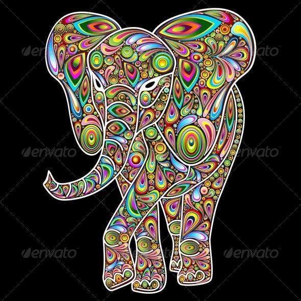 Elephant Psychedelic Pop Art Design