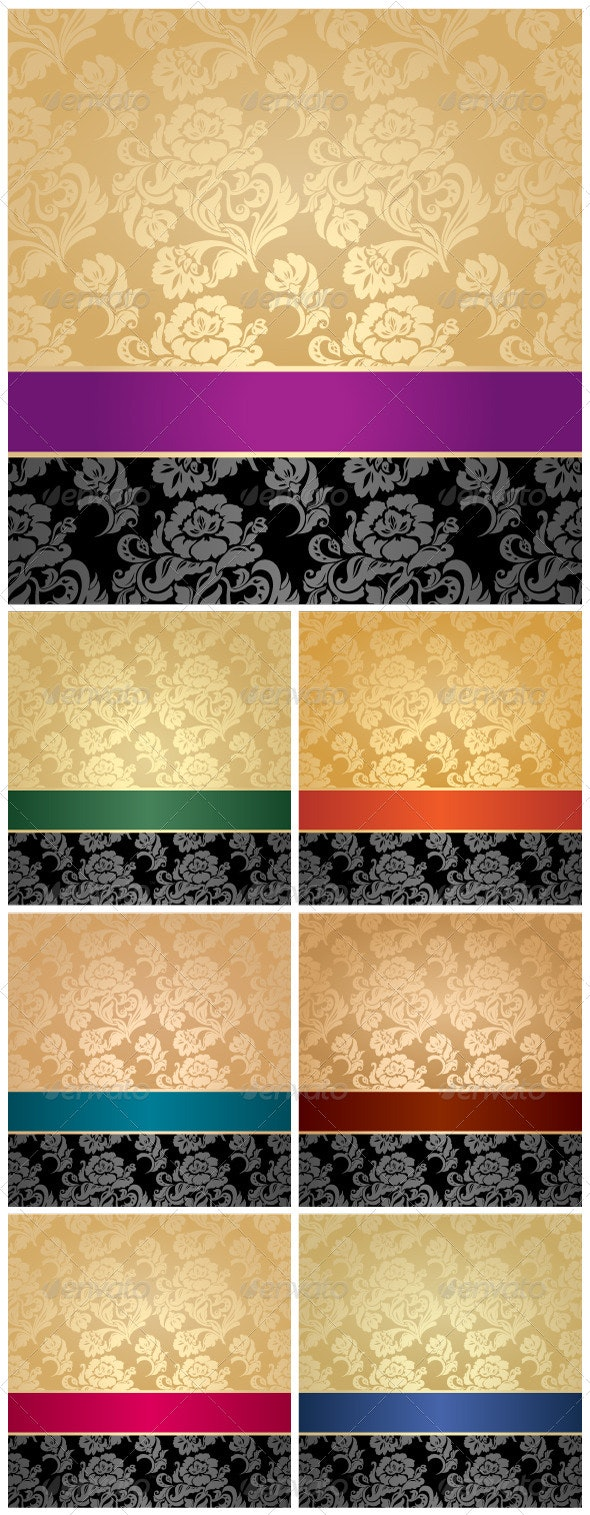 Floral Decorative Background with Colored Ribbons - Backgrounds Decorative