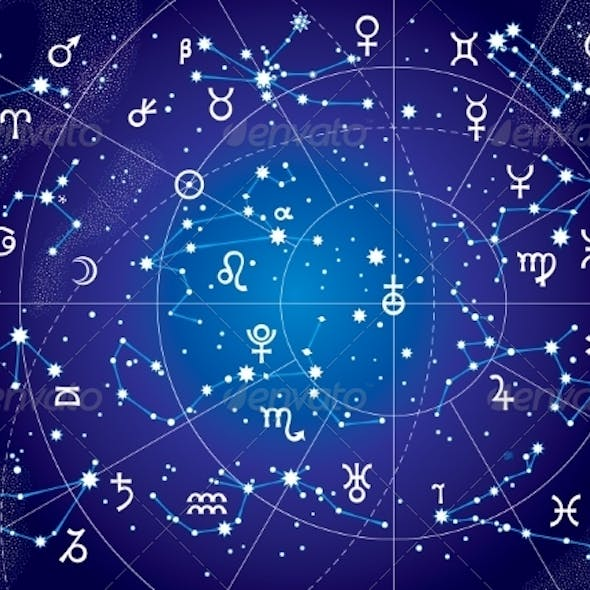 XII Constellations of Zodiac Ultraviolet Map