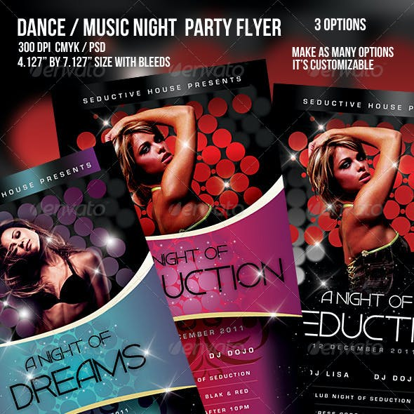 Music/Dance Night Seduction Party Flyer
