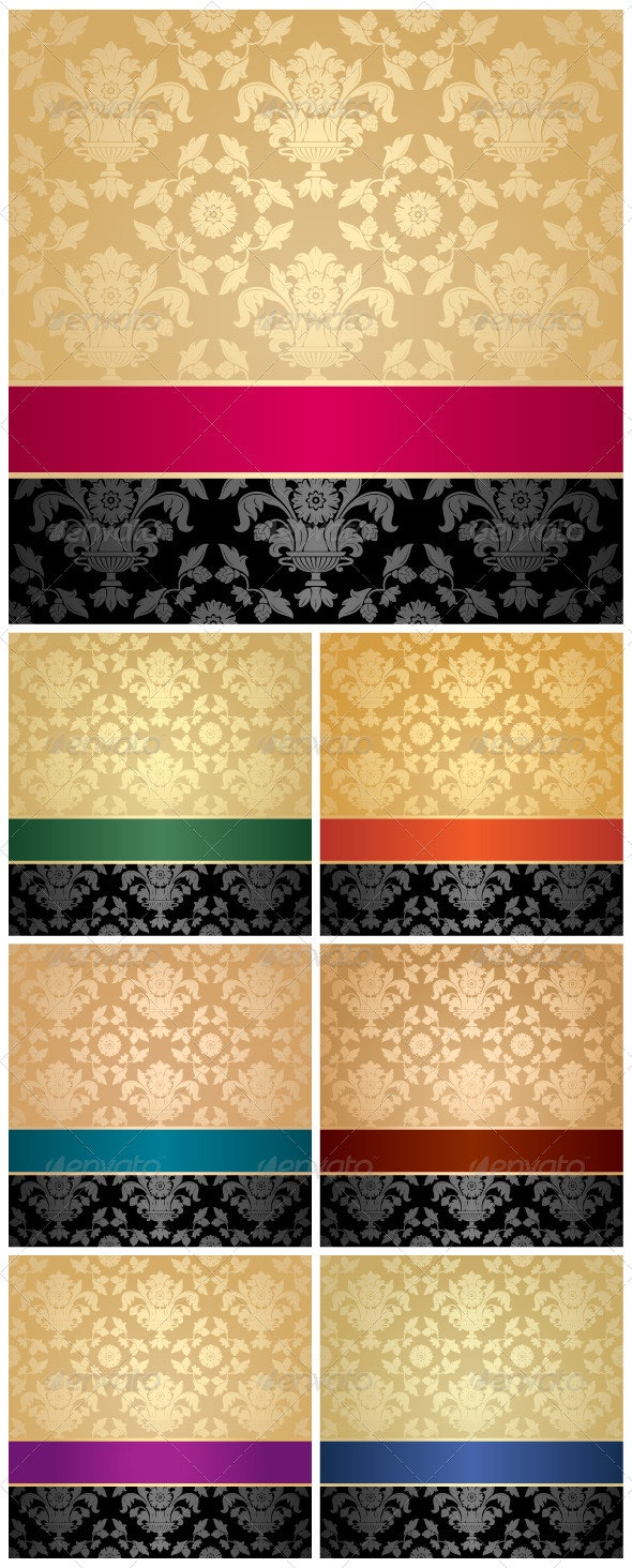 Floral Backgrounds with Colored Ribbons - Backgrounds Decorative
