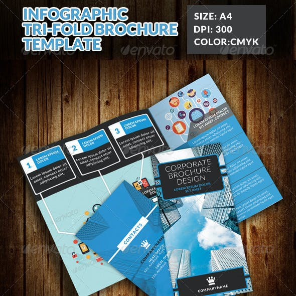 Infographic Corporate Tri Fold Brochure