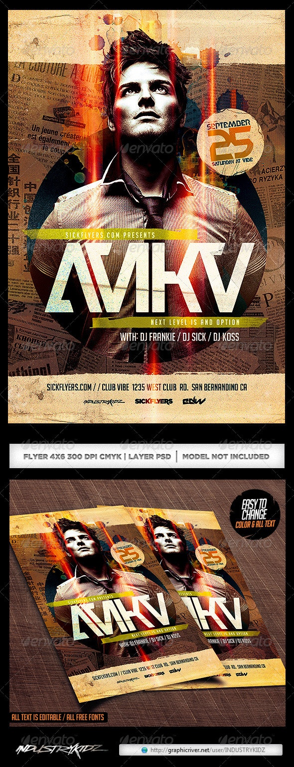 Electro Dance Guest DJ Flyer Template PSD - Clubs & Parties Events