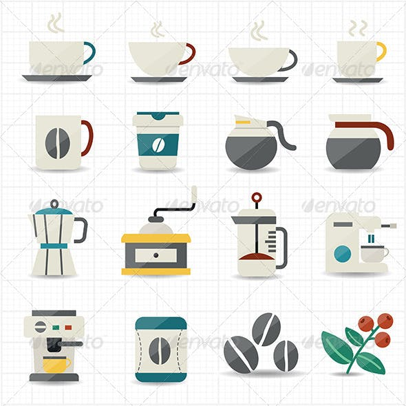 Coffee Icons and White Background