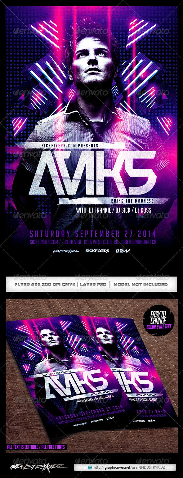 Electro Dance Music Concert Flyer Template - Clubs & Parties Events