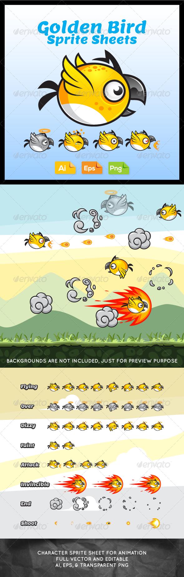 Game Character - Golden Bird Sprite Sheets - Sprites Game Assets