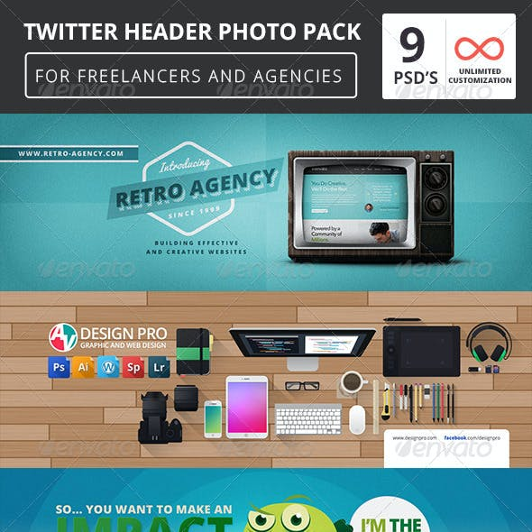 9 Twitter Header Covers Pack