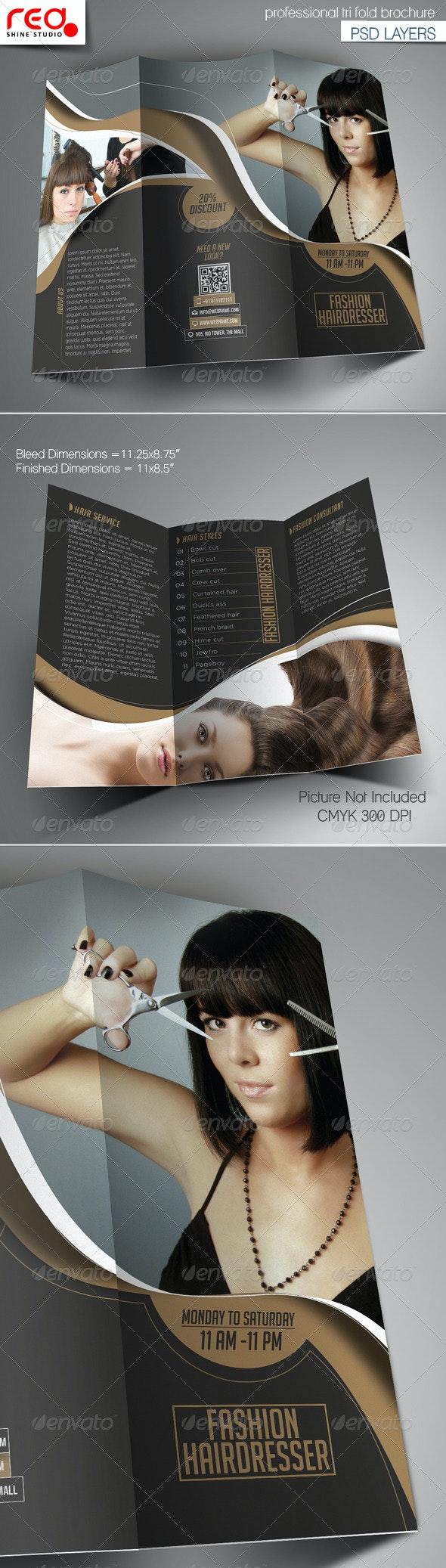 Fashion Hairdresser Tri-fold Brochure Template - Catalogs Brochures