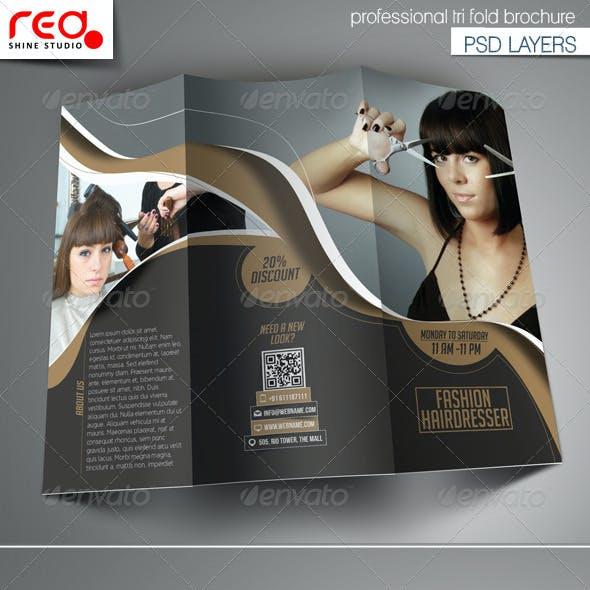 Fashion Hairdresser Tri-fold Brochure Template