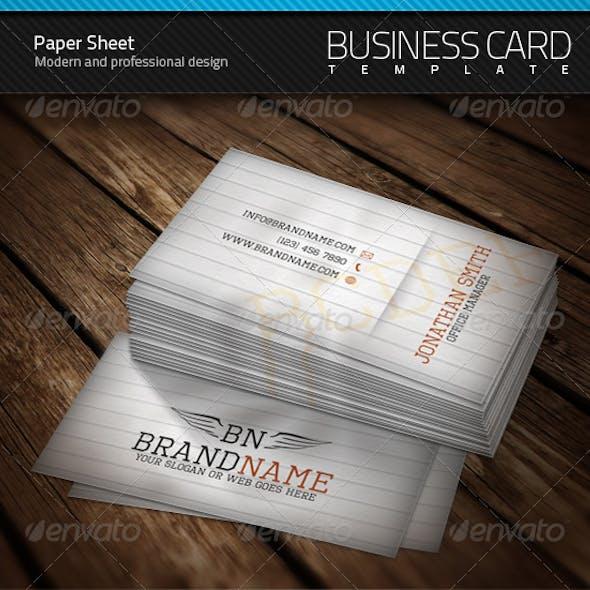 Paper Sheet Business Card