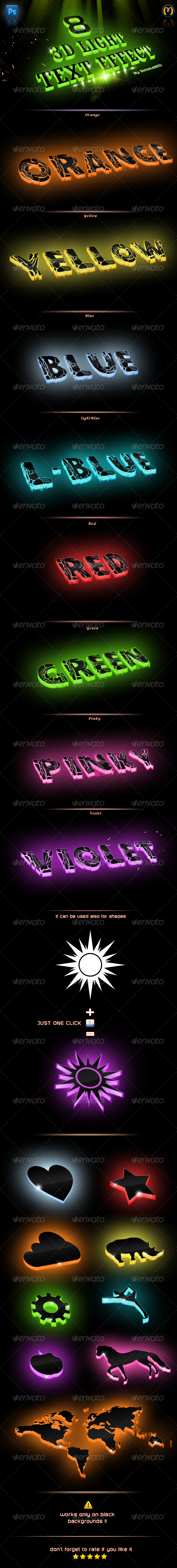 3D Light Text Photoshop Action - Text Effects Actions