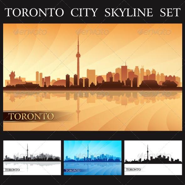 Toronto City Skyline Silhouettes Set