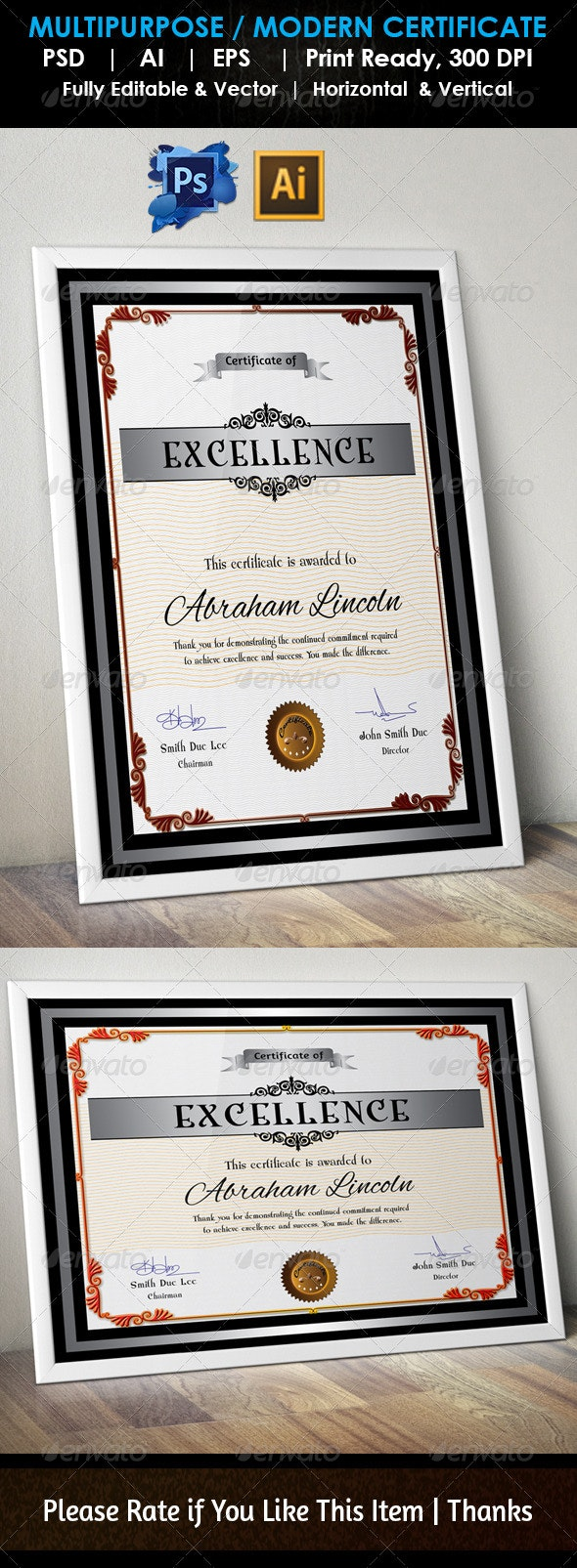 Simple Excellence Certificate GD004 - Certificates Stationery