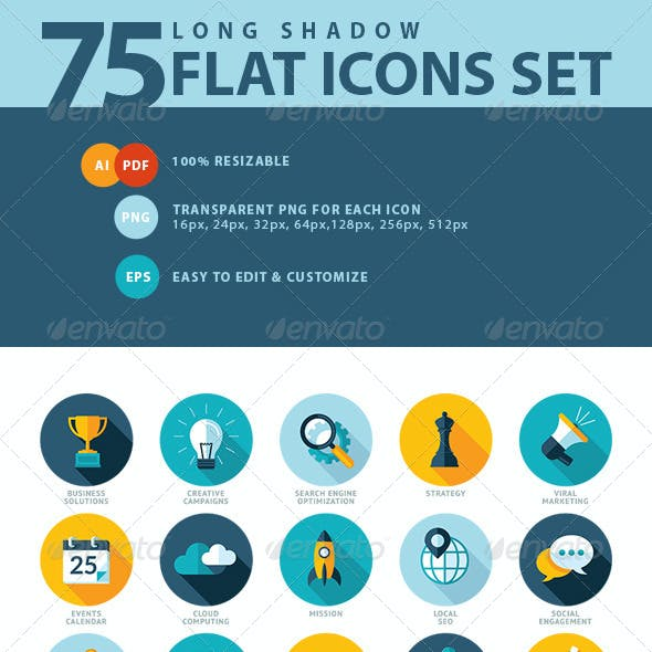 Set of Flat Design SEO Services Icons