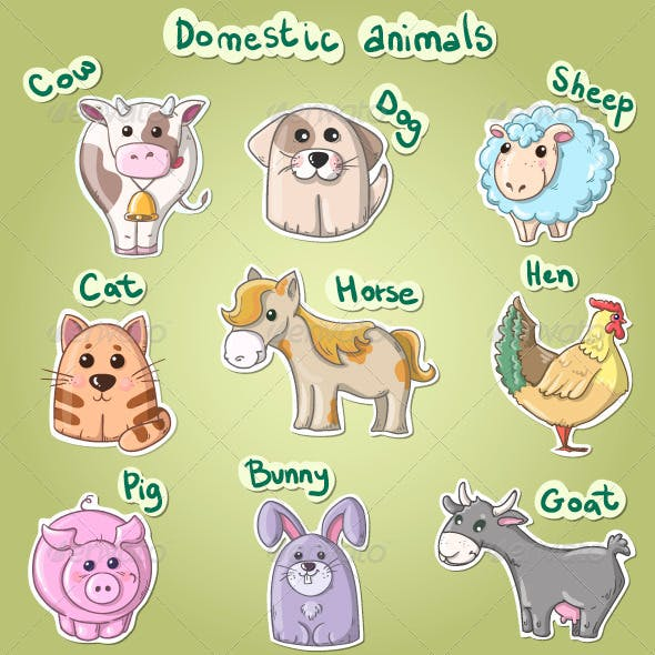 Set of Cartoon Domestic Animals