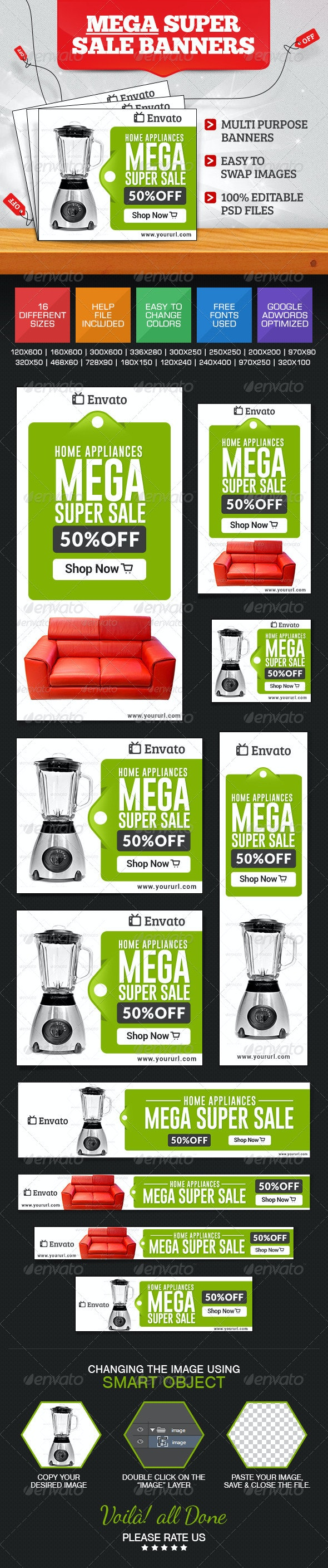 Super Sale Banner Set - Banners & Ads Web Elements