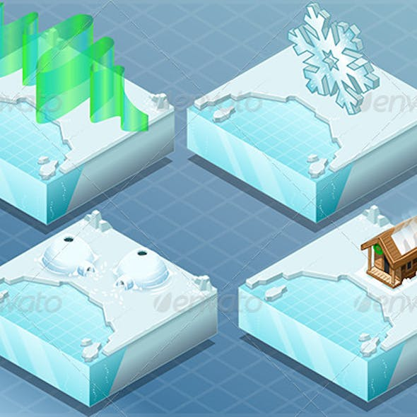 Isometric Arctic Igloo, Aurora, Sauna, Snow Flake