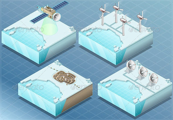 Isometric Arctic Satellite, Windmill, Mine, Radar - Objects Vectors