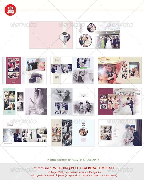 20 Pages Photo Album Template 12x15 for InDesign - Photo Albums Print Templates