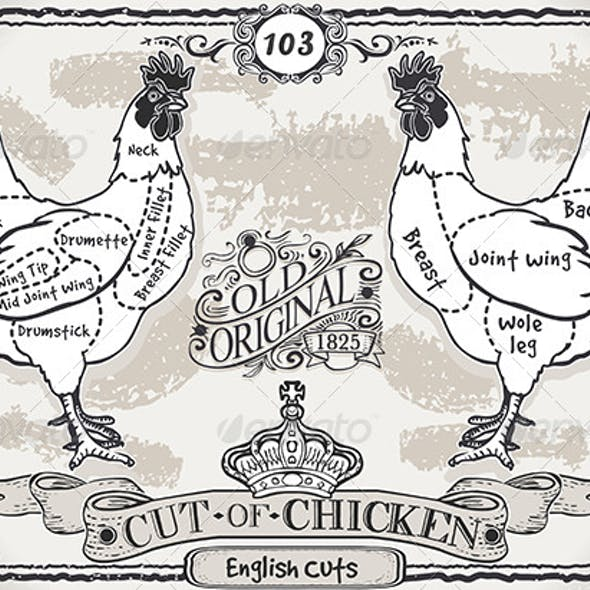 Vintage Page of English Cut of Chicken