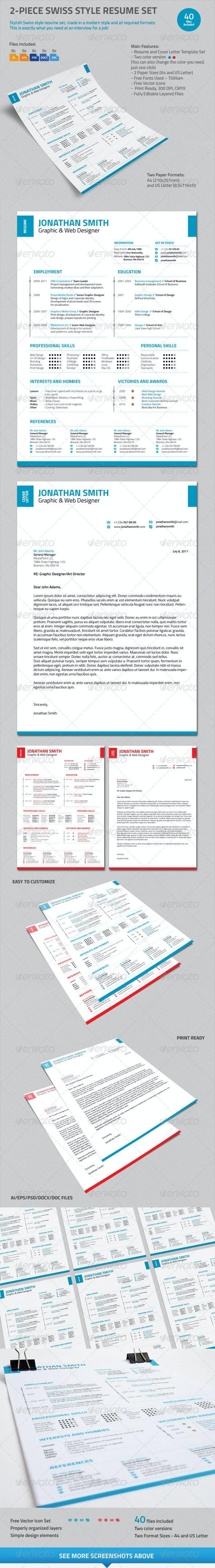 2-Piece Swiss Style Resume Set - Resumes Stationery