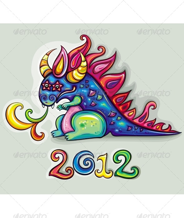 Vector Cute Happy Dragon - Monsters Characters