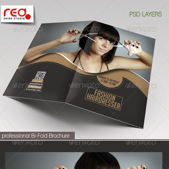 Fashion Hairdresser Bi-fold Brochure Template