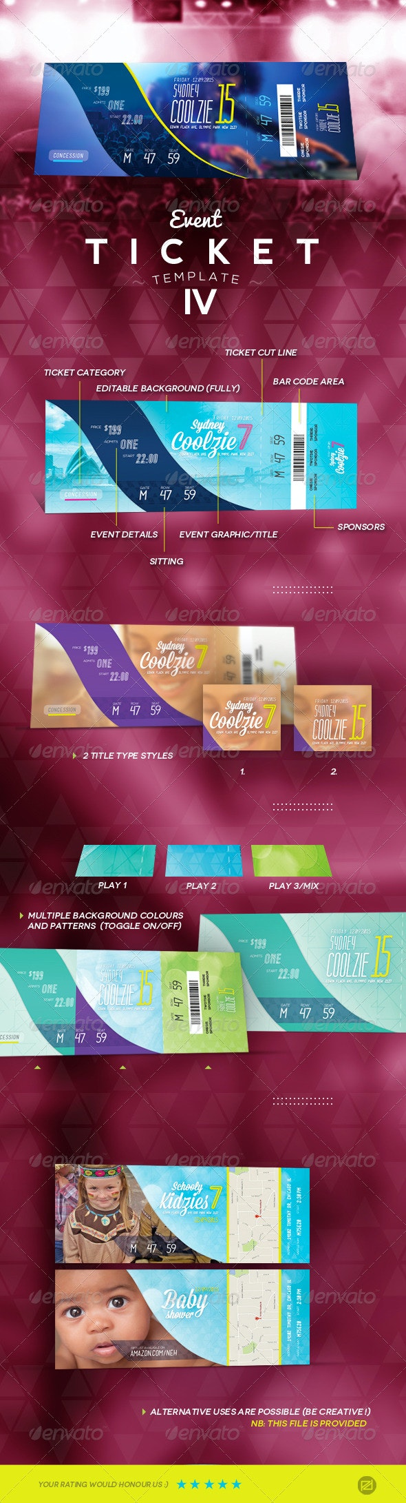 Event Ticket Template IV - Miscellaneous Print Templates