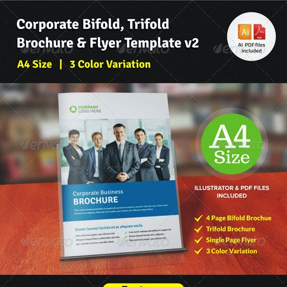 Corporate Bifold, Trifold Brochure & Flyer v2