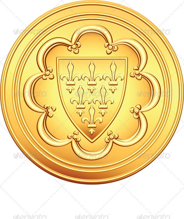 Vector French Money Ecu Gold Coin  - Man-made Objects Objects