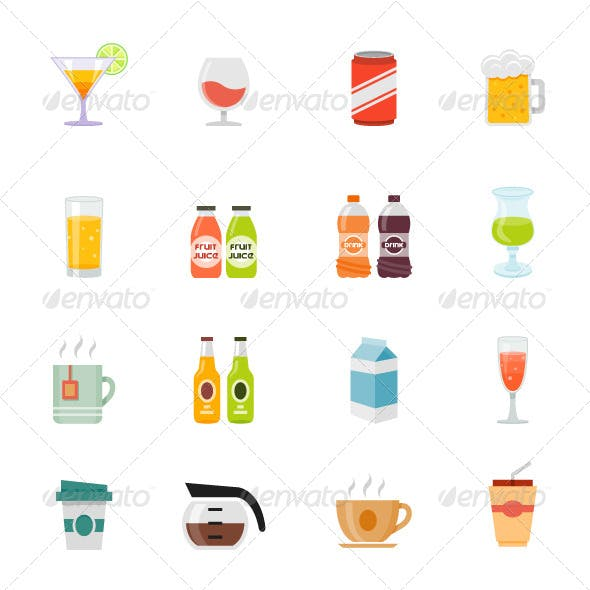 Beverage Icon Flat Design