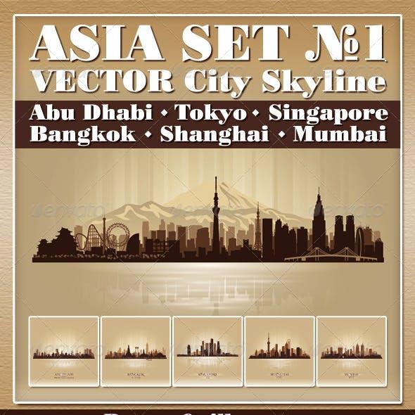 Vector City Skyline Asia Set Number 1