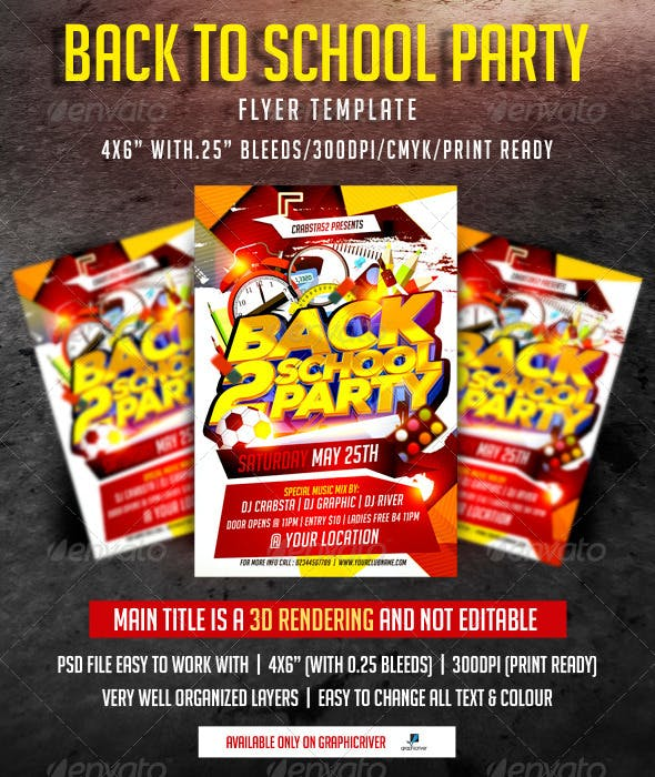 Back To School Party Flyer Template Clubs Parties Events