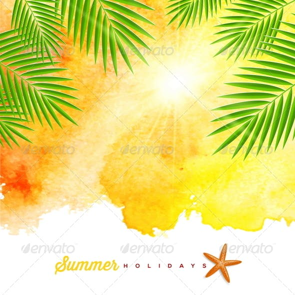 Summer Holidays Watercolor Background