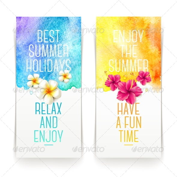 Summer Holidays Banners with Tropical Flowers