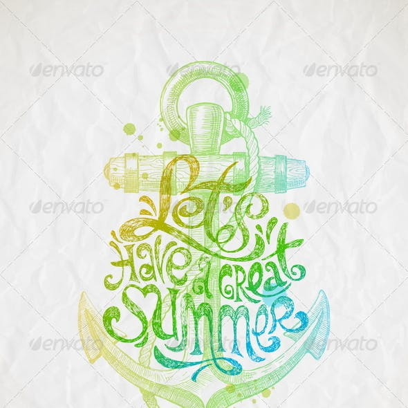 Summer Holidays Greeting with Anchor