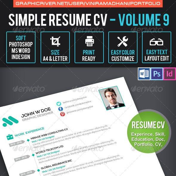 Simple Resume CV Volume 9