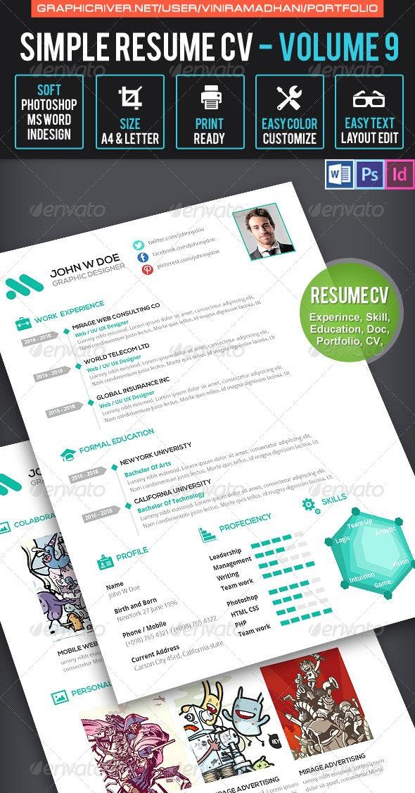 Simple Resume CV Volume 9 - Resumes Stationery